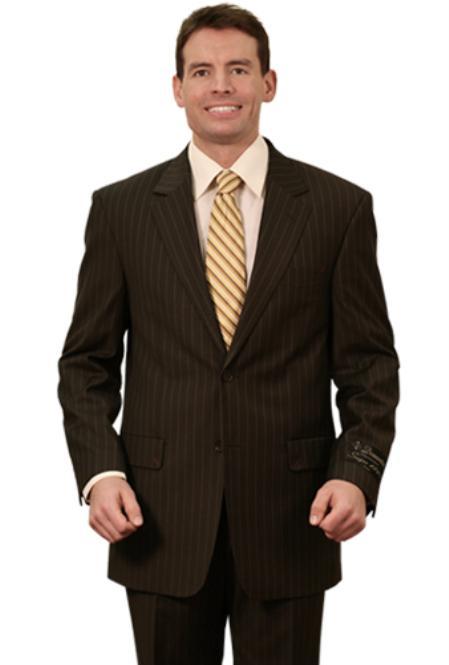 SKU#YP2836Trueran-Viscose Mens Classic Pinstripe ~ Stripe Pattern Suits Black