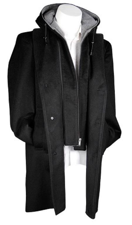 Wool 3/4 Black Hooded