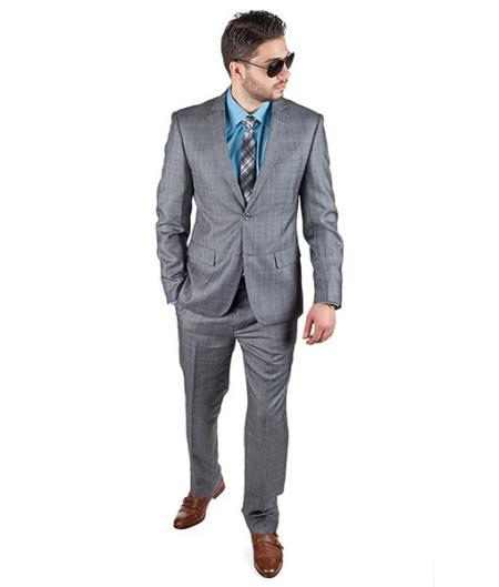 Slim Fit Men Grey Plaid 2 Button Suit - Dress Suit For Men