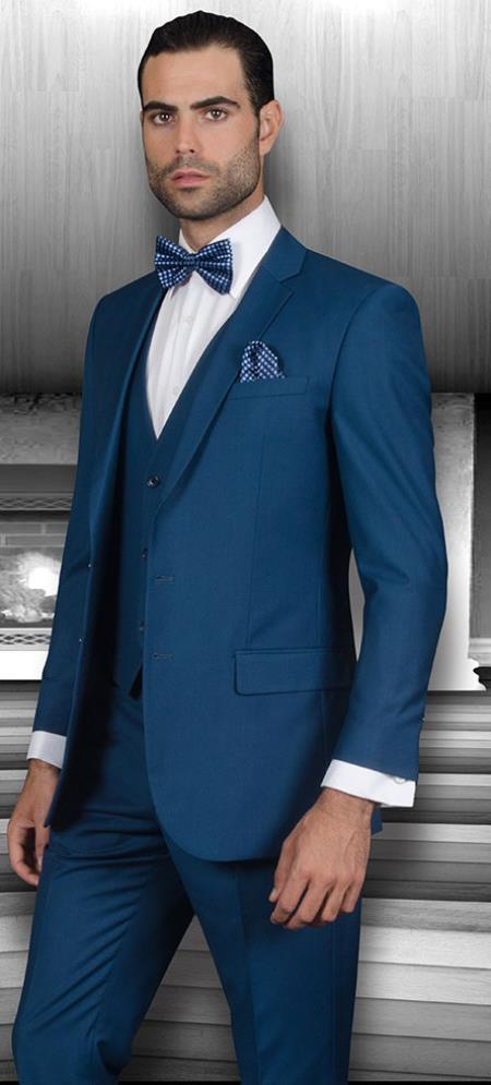 fe8139fc2d8 Mens Slim Fit Suits Three Piece Cobalt ~ Indigo~ Teal ~ Slate Blue Wool  Vested Suit
