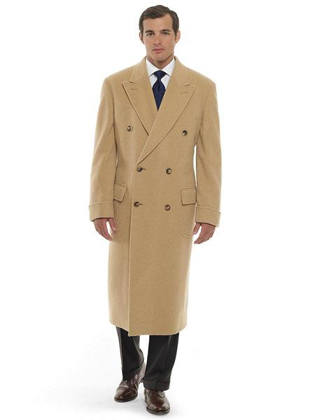 Men's Vintage Style Coats and Jackets Mens 44 Inch Long Length Camel  Khaki  Beige  Tan Double Breasted Wool Blend Overcoat Topcoat $299.00 AT vintagedancer.com