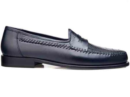 men's navy giotto genuine ostrich italian calf slip on exotic skin shoes