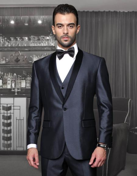 Men's Slim Fit Suit - Fitted Suit - Skinny Suit Tapered Leg Lower rise Pants & Get skinny Tuxedo Formal Suits Two Toned Black Lapel Three