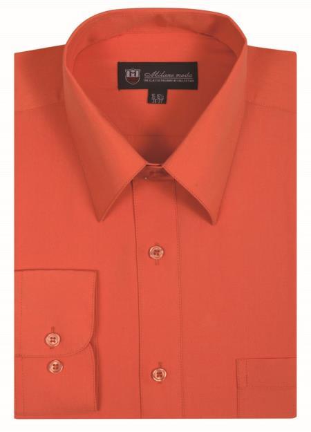 Orange Plain Solid Color Traditional Men's Dress Shirt