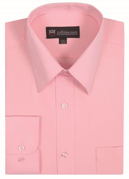 Classic Fit Plain Solid Color Traditional Pink Men's Dress Shirt