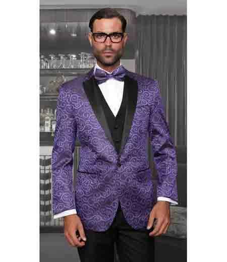 Purple 3 Piece Mens Statement Suits Clothing Confidence Tuxedo Vegas Modern Fit Bellagio Suit