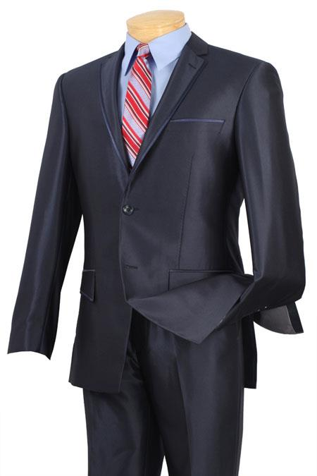 Mens Slim Fit Cheap Priced Business Suits Clearance Sale Fitted Style Shiny Blue Trimmed  Mens Sharkskin Suit
