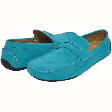 Turquoise Mens Driving Shoes-