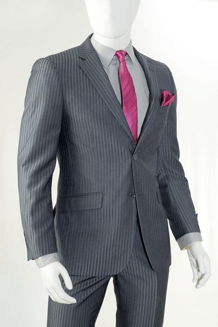 Slim Fit Cheap Priced Business Suits Clearance Sale Two Button Charcoal Stripe ~ Pinstripe - Color: Dark Grey Suit