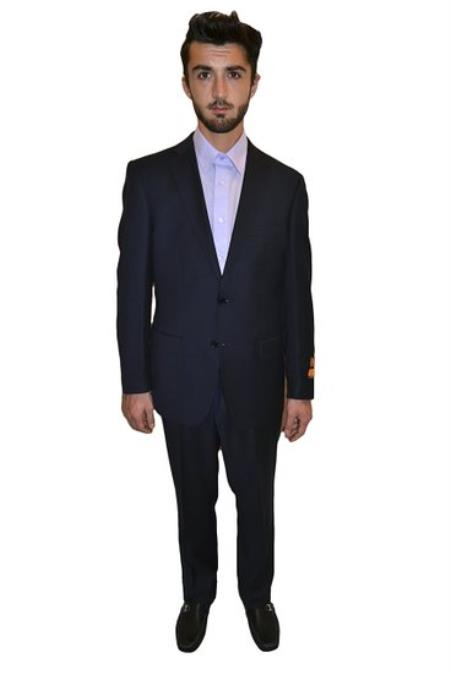 Authentic Mantoni Brand Tapered Leg Lower rise Pants & Get skinny Mens Two Piece Suit Modern Fit Solid Dark Navy