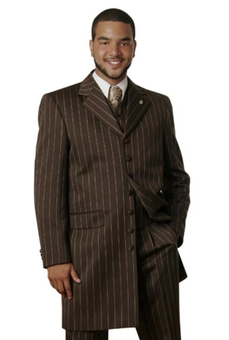 SKU#DS1426 Men Suits brown Pinstripe $225