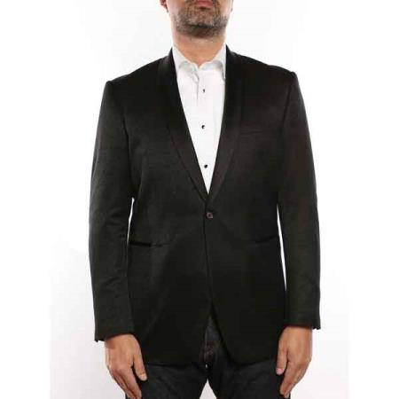 Mens 1 Button Shawl Collar Textured Tuxedo Slim Fit Blazer Black