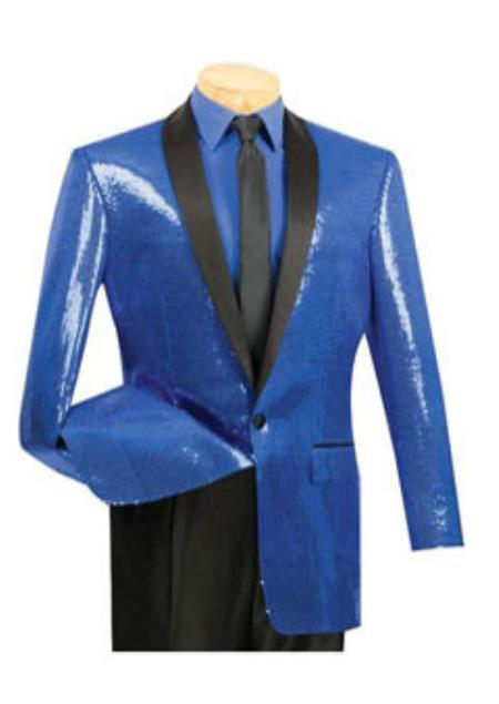 Mens 1 Button Blue Sequin Entertainer Royal Color Tuxedo Shawl Lapel Jacket Blue