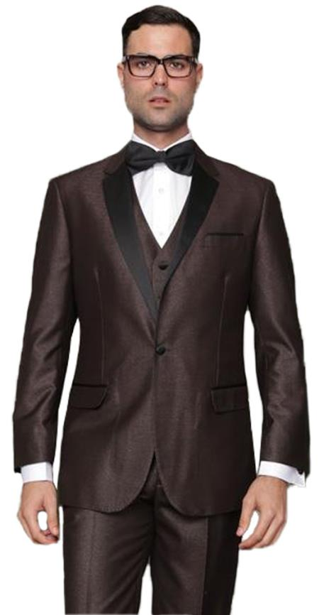 Men's 1 Button  Vested Brown Tuxedo Suit