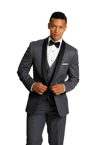 Men's Charcoal Grey With Sheen Shawl Collar Vested 3 Pieces tuxedo Vested Super 150's Wool Black Lapel Regular Fit