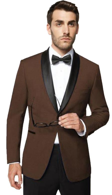 Men's 1 Button Shawl Lapel Dark Brown  Modern Fit Tuxedo Super 150's Wool