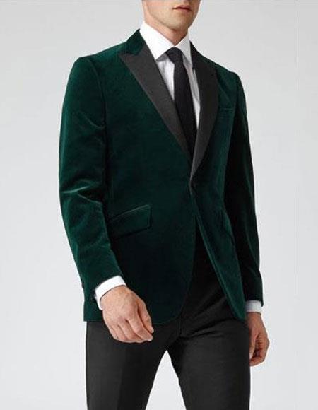 Mens Dark Green Velvet Slim Fit Casual Blazer On Sale