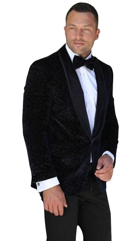 Men's 1 Button Floral Pattern Shawl Lapel Navy Velvet Tuxedo
