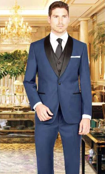 Men's 1 Button French Blue Shawl Lapel  Vest Tuxedo Suit