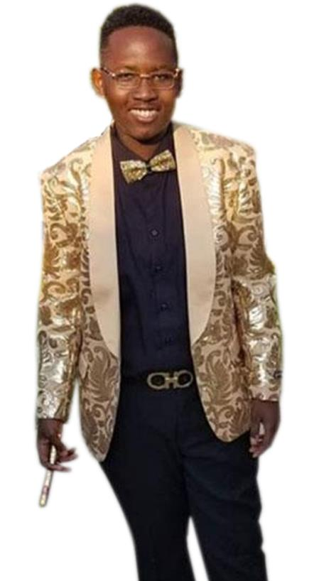 Men's Gold Cheap Priced Designer Fashion Dress Casual Blazer On Sale One Button Shawl Lapel Blazer