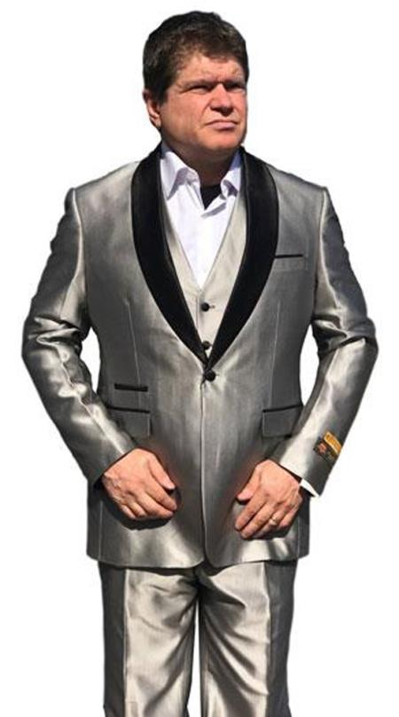 Men's Gray Besom Ticket Pocket Satin Shawl Lapel Jacket