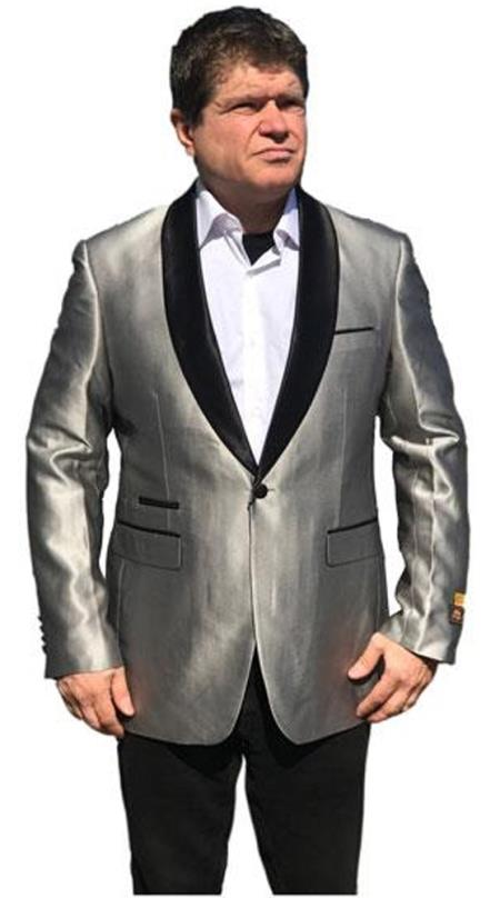Men's Gray One Button Satin Shawl Lapel Jacket