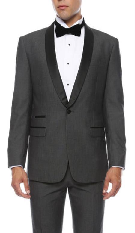 Mens Reno 1-Button Shawl Slim Fit Tuxedo Grey