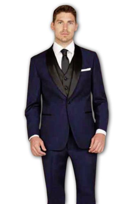 Men's 1 Button Shawl Lapel Slim Fit Ink Blue Vest Tuxedo Suit