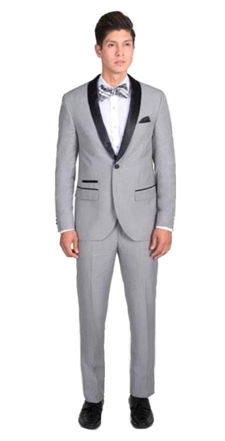 Men's 1 Button Light Gray Slim Fit  With Black Shawl Lapel