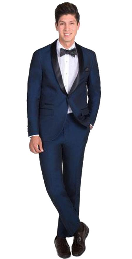 Mens 1 Button Slim Fit Navy Blue Tuxedo with Black Shawl Lapel