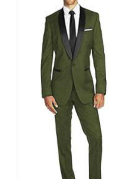 One button shawl lapel flap front pocket olive green suit for men