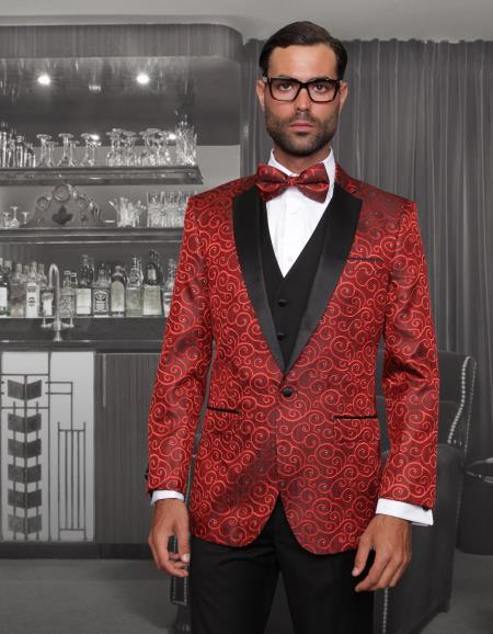 Men's Floral Designed Black  Red~Black tuxedo dinner jacket - Red Tuxedo