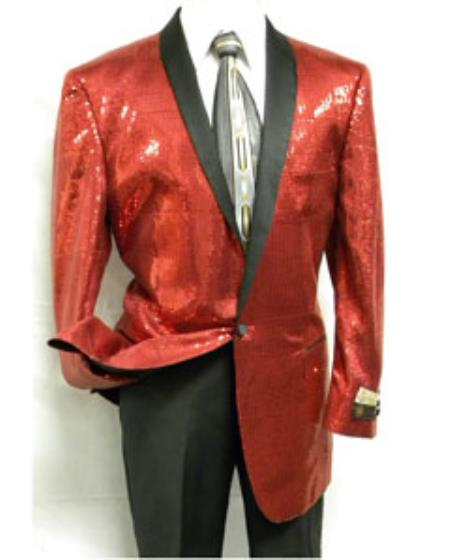 Mens 1 Button Red Sequin Entertainer Jacket Red