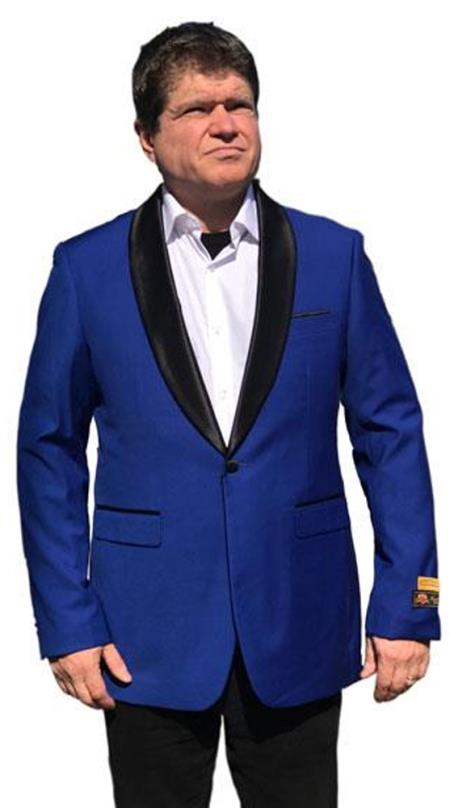 Men's 1 Button Shawl Lapel Tuxedo Dinner Jacket with Black Satin Shawl Royal Blue
