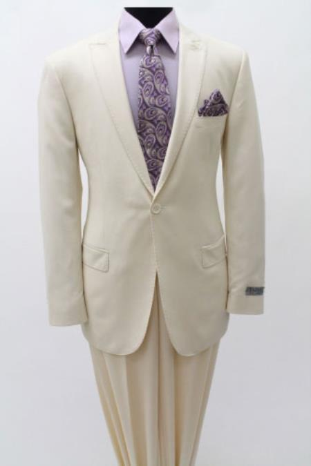 Mens 1 Single Button Suit Peak Lapel Slim Fitted Cotton Light Weight Ivory