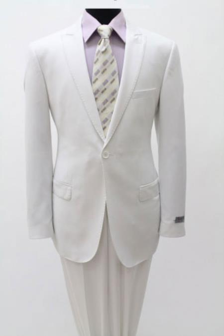 Cotton Slim Fitted Light Weight Men's One Single Button White Peak Lapel Suits