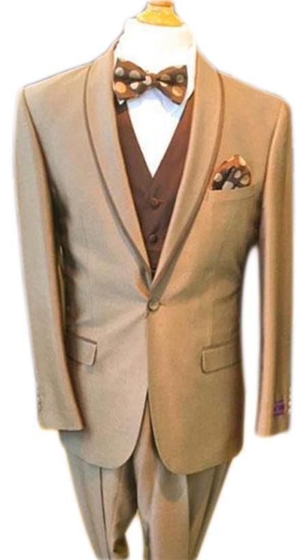 Men's Tan Cheap Priced Designer Fashion Dress Casual Blazer On Sale One Button Shawl Lapel Blazer