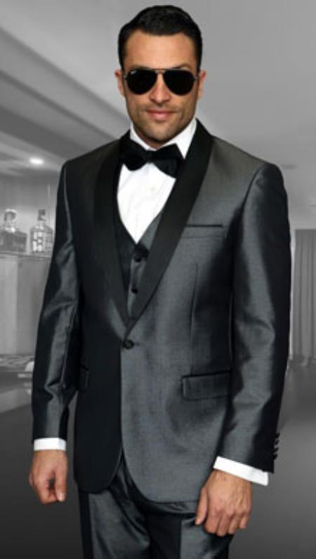 Mens Two Toned Lapel Wynn 1-Button Shawl Modern Solid Tuxedo Grey