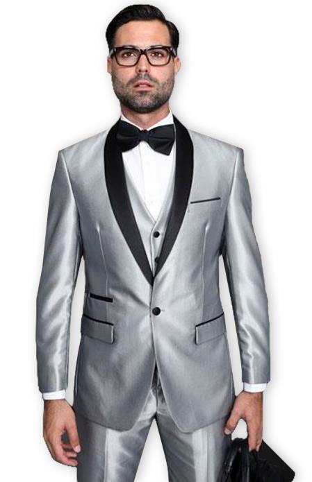 Mens Shiny Sharkskin Tuxedo Silver Gray ~ Light Grey Black Lapel Two Toned Vested Tuxedo