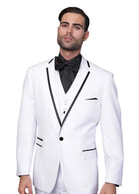 Mens Two Toned Lapel Venetian 1-Button Tuxedo Suit White
