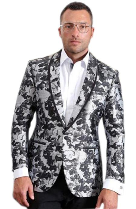 Mens High fashion White ~ Black trimmed Shawl Lapel suit