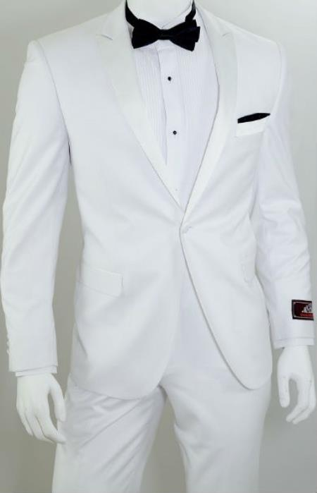 Single Breasted 1-Button Slim Tuxedo White