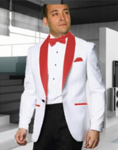 Men's 1 Button White Tuxedo with a Red Shawl Lapel Dinner Jacket Cheap Priced Blazer Jacket For Men Sportcoat + Free White or Black or Red Pants - Red Tuxedo
