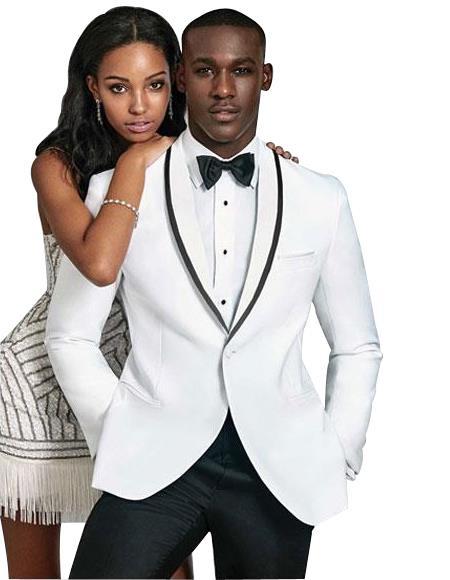 Men's Slim Fit 1 Button  Shawl Lapel White Suit