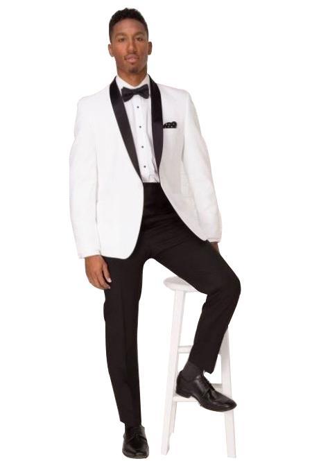 Men's White Shawl Lapel 1 ButtonTuxedo Suit