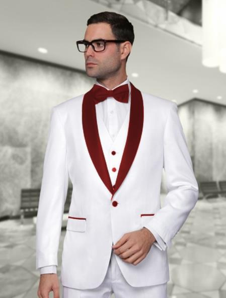 White And Burgundy Lapel Vested Suit 3PC 3 Pieces Shawl Collar tuxedos