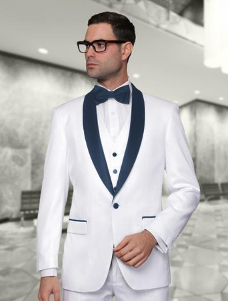 White And Navy Blue Lapel Vested Suit 3PC 3 Pieces Shawl Collar tuxedos