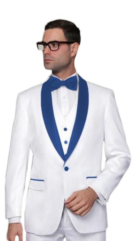 Alberto Nardoni White and Royal Blue Lapel Shawl Collar Tuxedo Vested 3PC 3 Pieces Suits Wool 1 button Dress Suits for Men