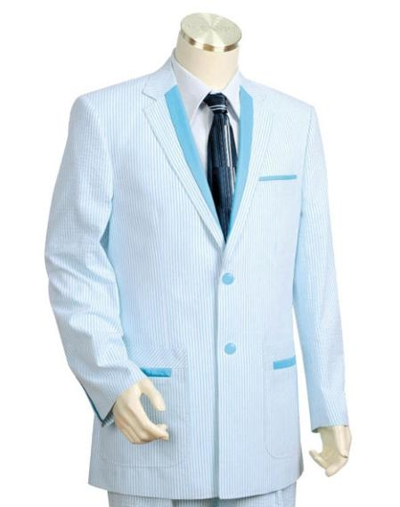 SKU#ER4574 Mens 2pc 100% Cotton Seersucker Suits TurqoiseWhite $149