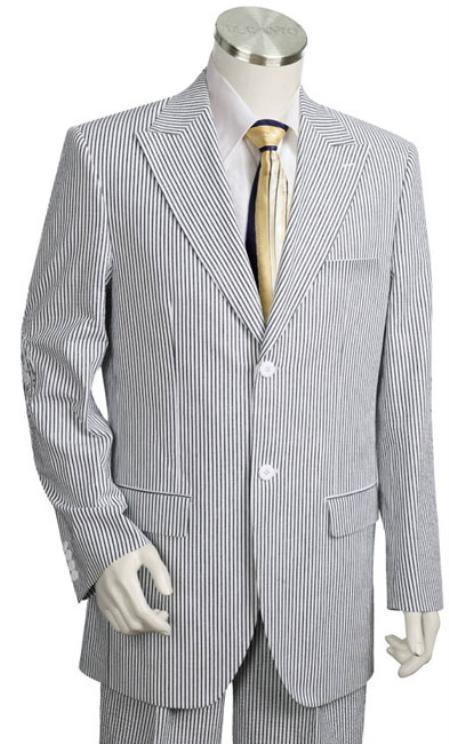 SKU#XA2147 Mens 2pc 100% Cotton Seersucker Suits WhiteBlack $189